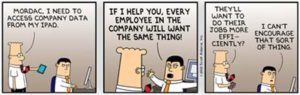 Dilbert and Mordac; source Scott Adams
